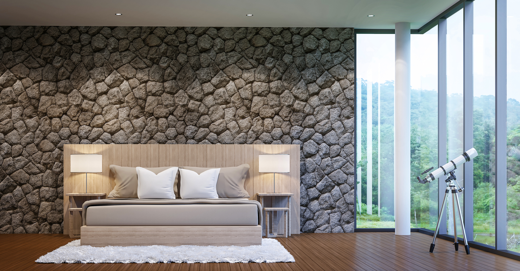 Modern luxury bedroom decorate walls with nature stone  rough skin